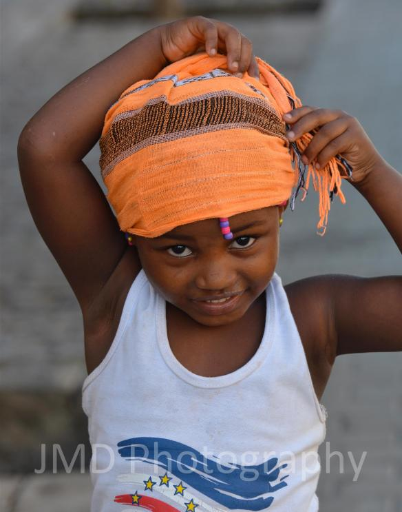 Kriola in an Orange Scarf - Santiago, Cape Verde